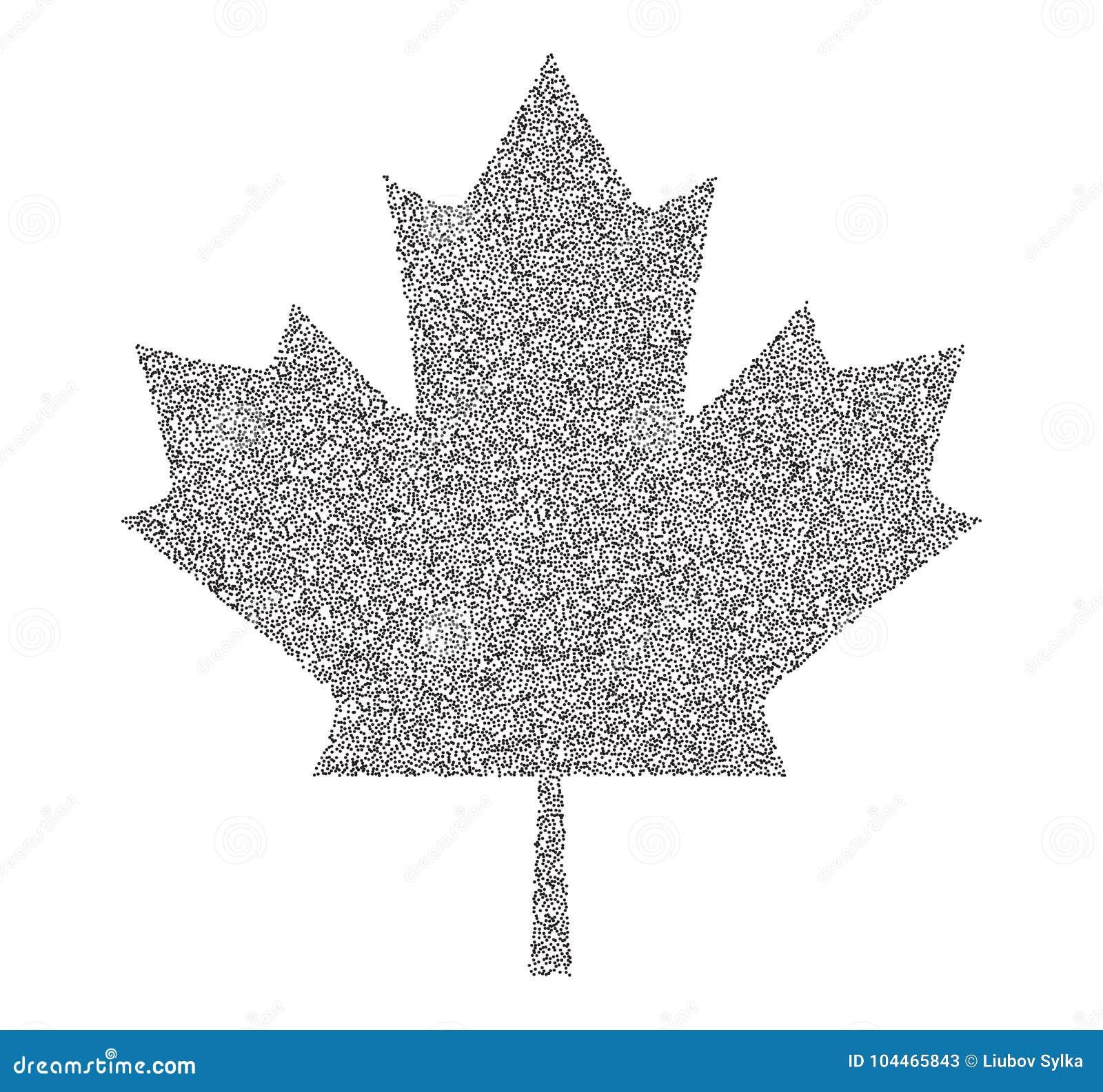 Pointillé Foncé De Feuille Dérable De Canada De Signe