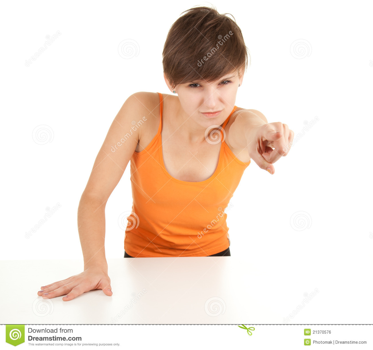 Pointing Angry Girl Royalty Free Stock Image - Image: 21370576