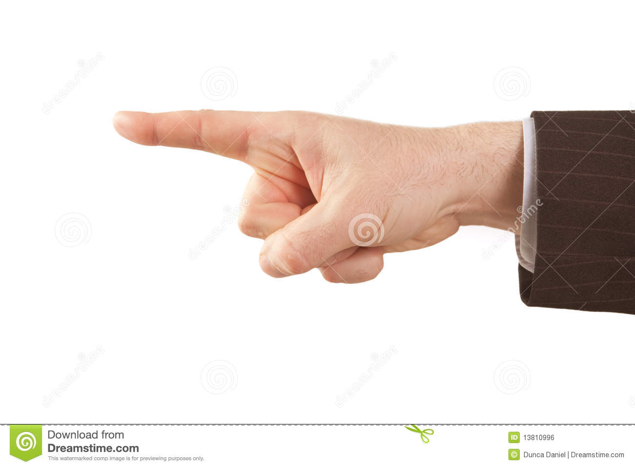Royalty free stock image pointing finger of isolated businessman hand