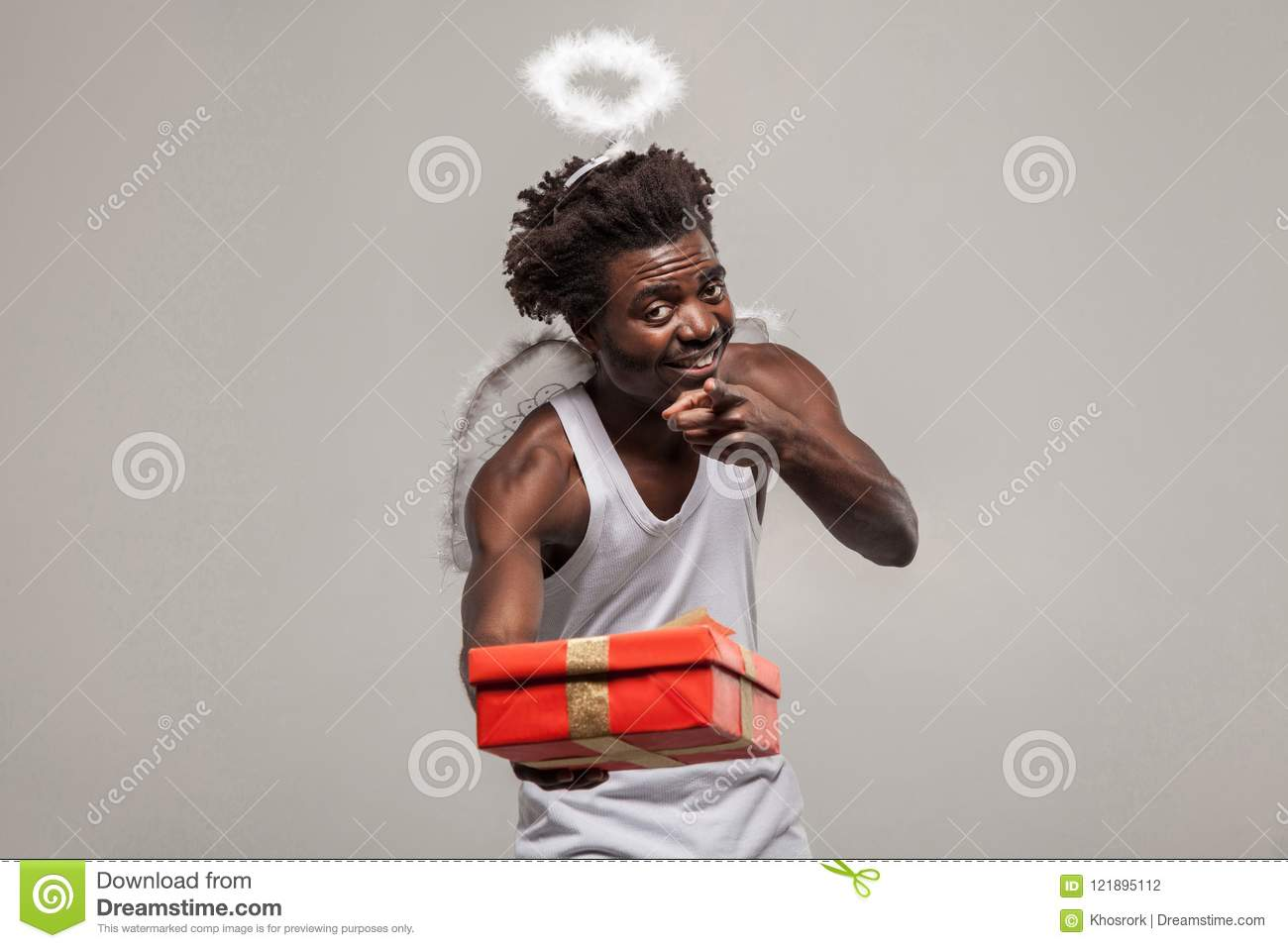 pointing finger sharing Love and gift. dark skinned bearded African angel funny man with white shirt, nimbus and winks