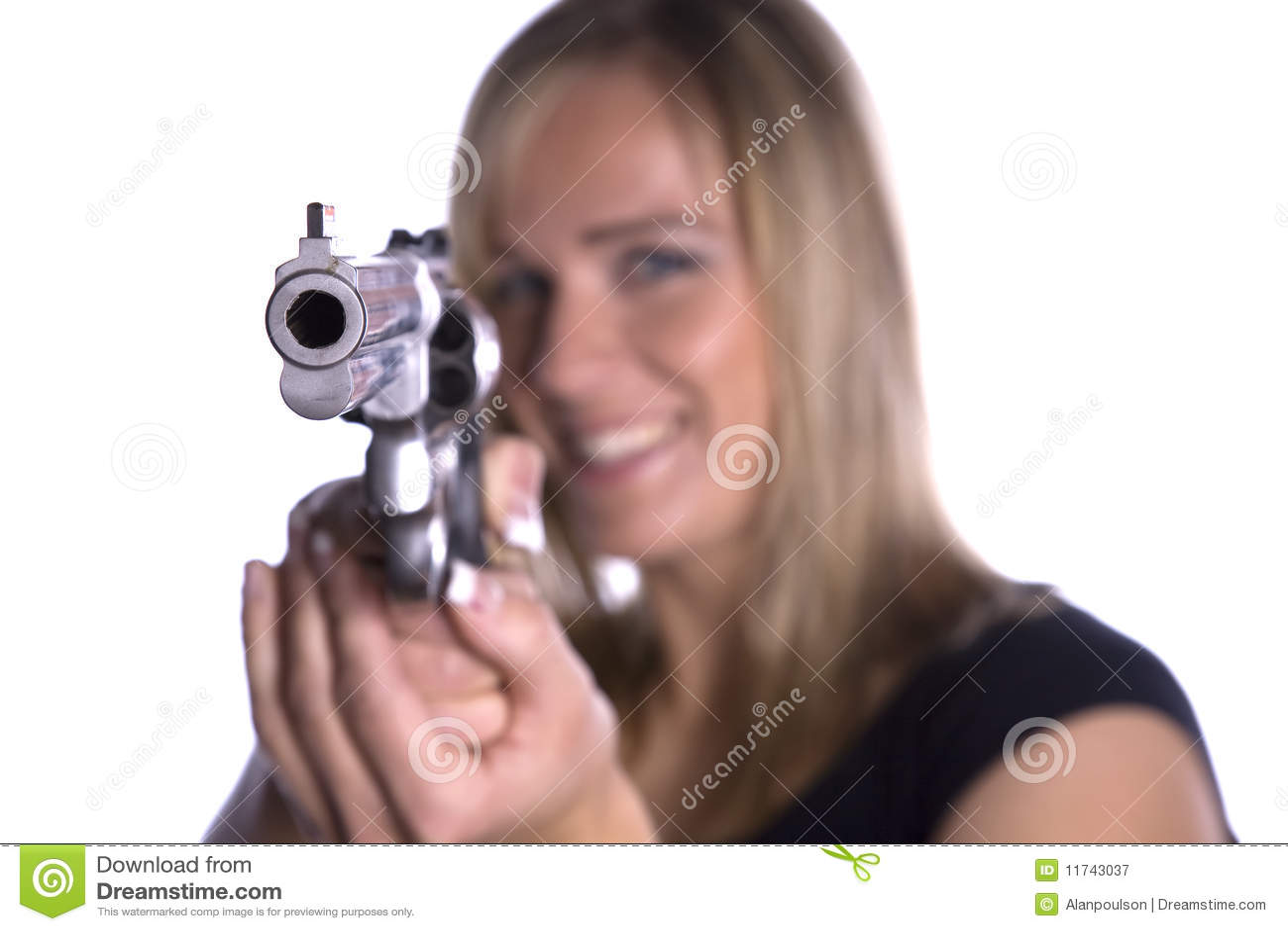 Revolver gun pointing at camera