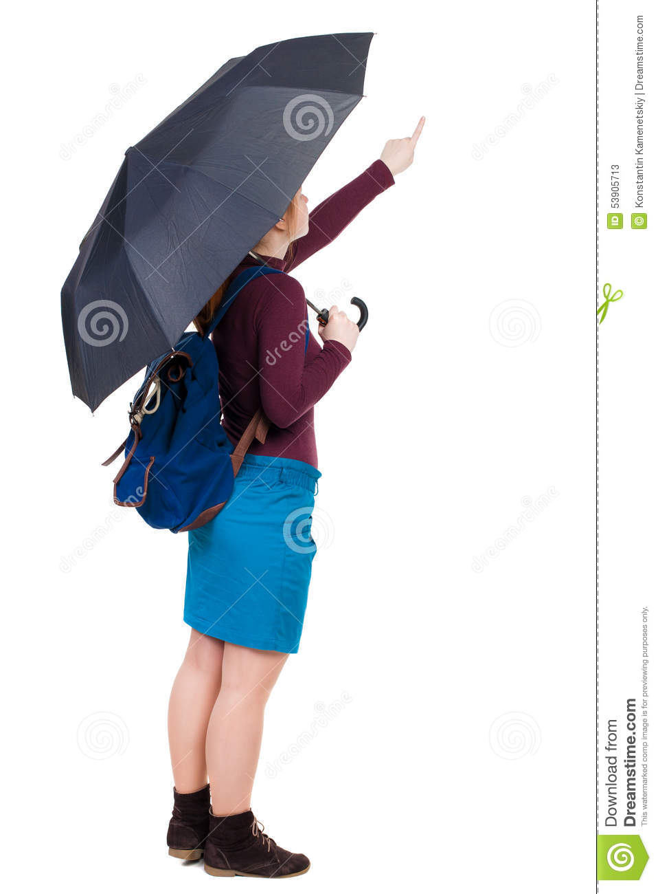 38c230ecee Pointing Woman With A Backpack Under An Umbrella. Stock Image ...