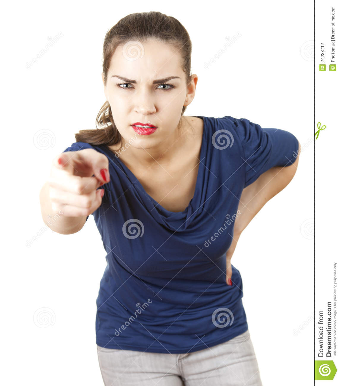 Pointing You Angry Young Woman Stock Photography - Image ...