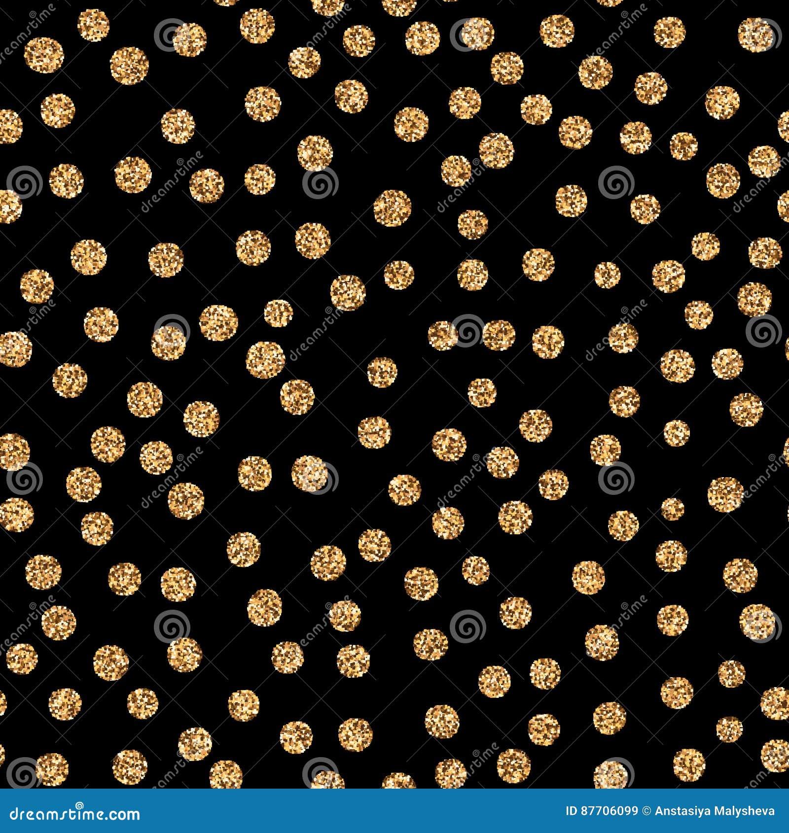 Points de polka d or brillants de scintillement sur le fond blanc