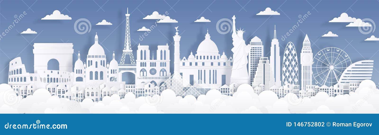 Points de repère coupés de papier Voyagent le fond du monde, carton publicitaire d horizon, silhouettes de bâtiments de Paris Lon