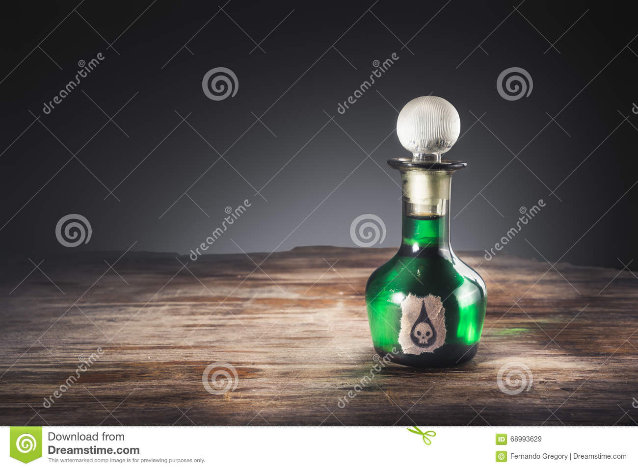 Poison bottle on a table