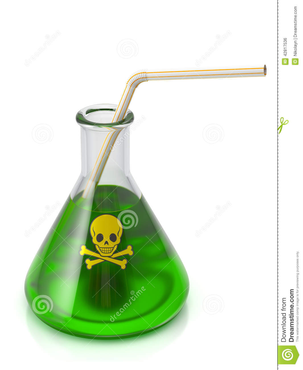 ... straw. Erlenmeyer test tube marked sign with a skull and crossbones