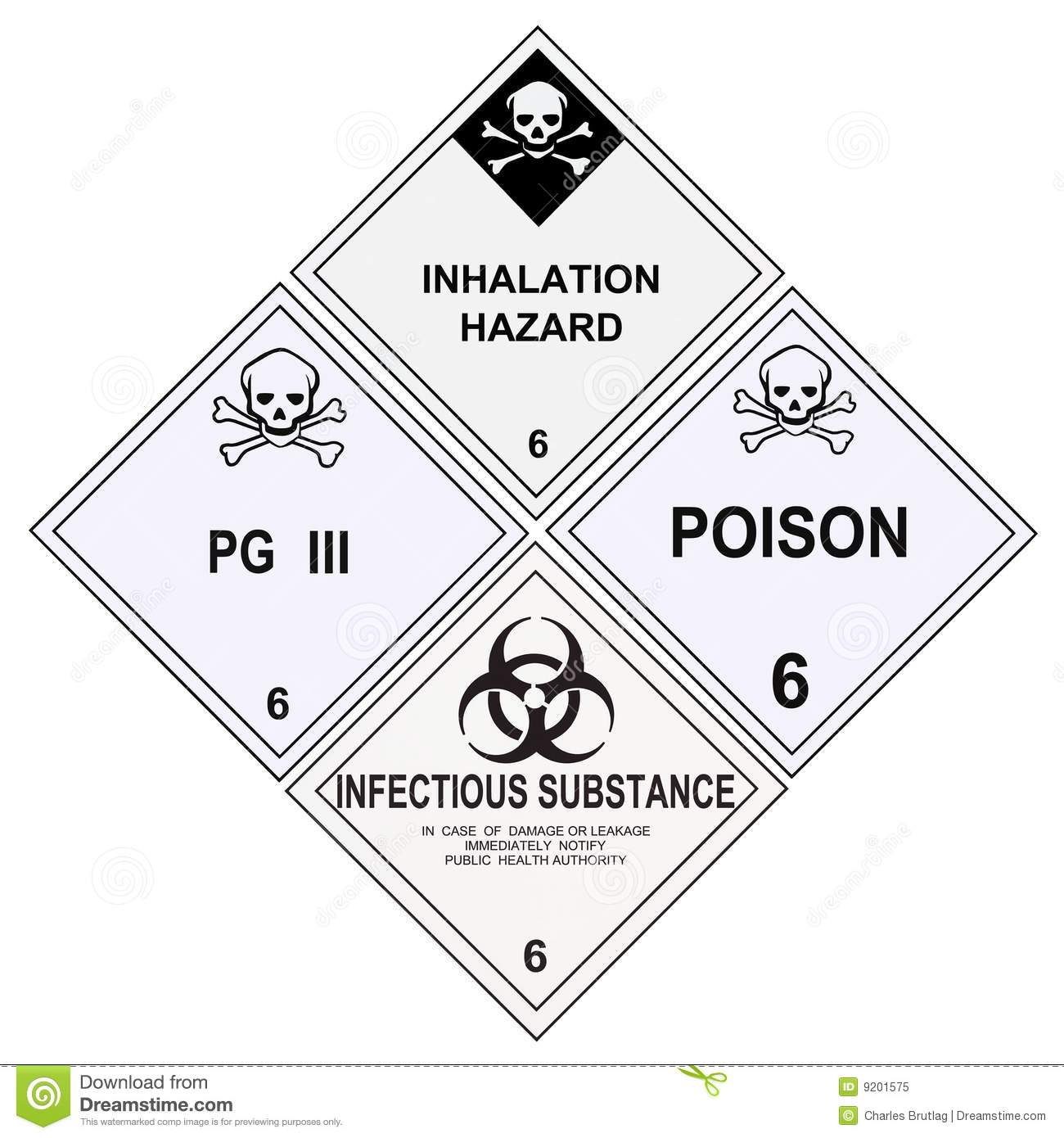 poison inhalation infectious warning labels stock