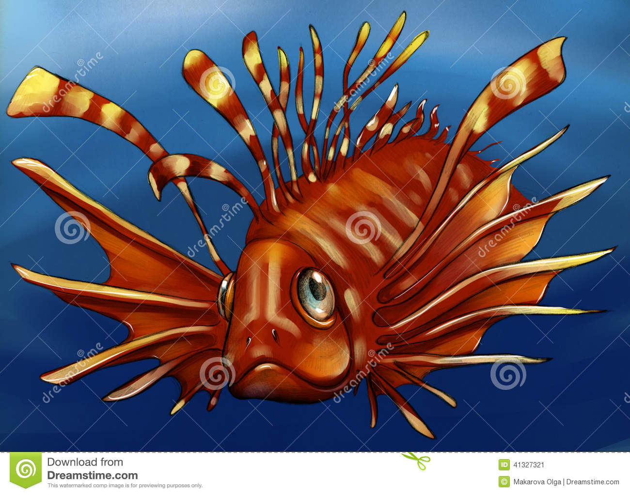 Exotic Poisonous Fish Sketch Stock Illustration - Illustration of ...