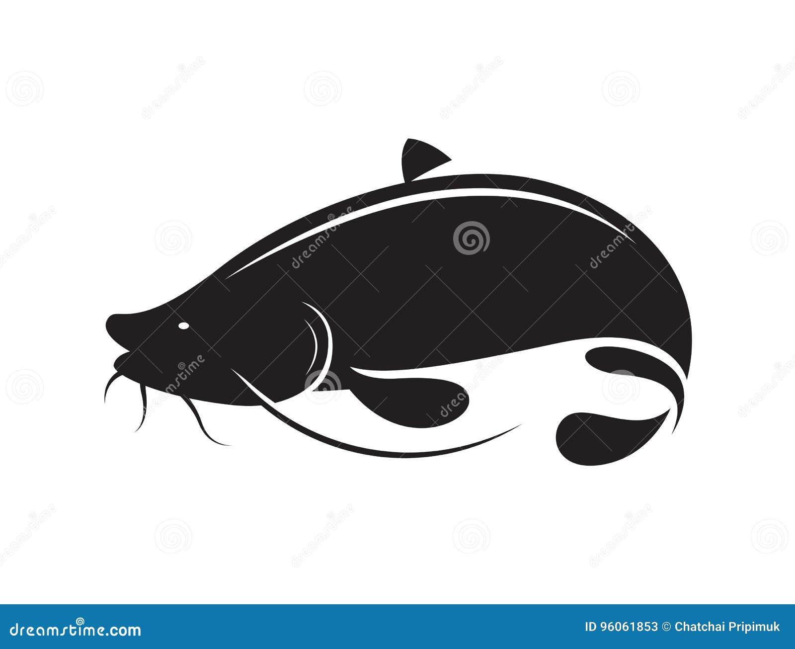Poisson-chat noir d icône, vecteur