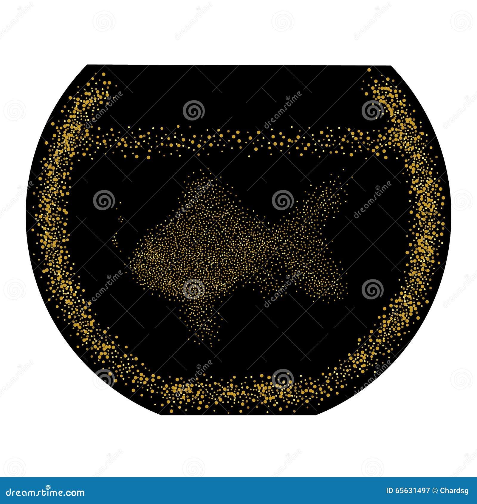 Poisson rouge dans la cuvette Illustration abstraite Scintillement d or composé