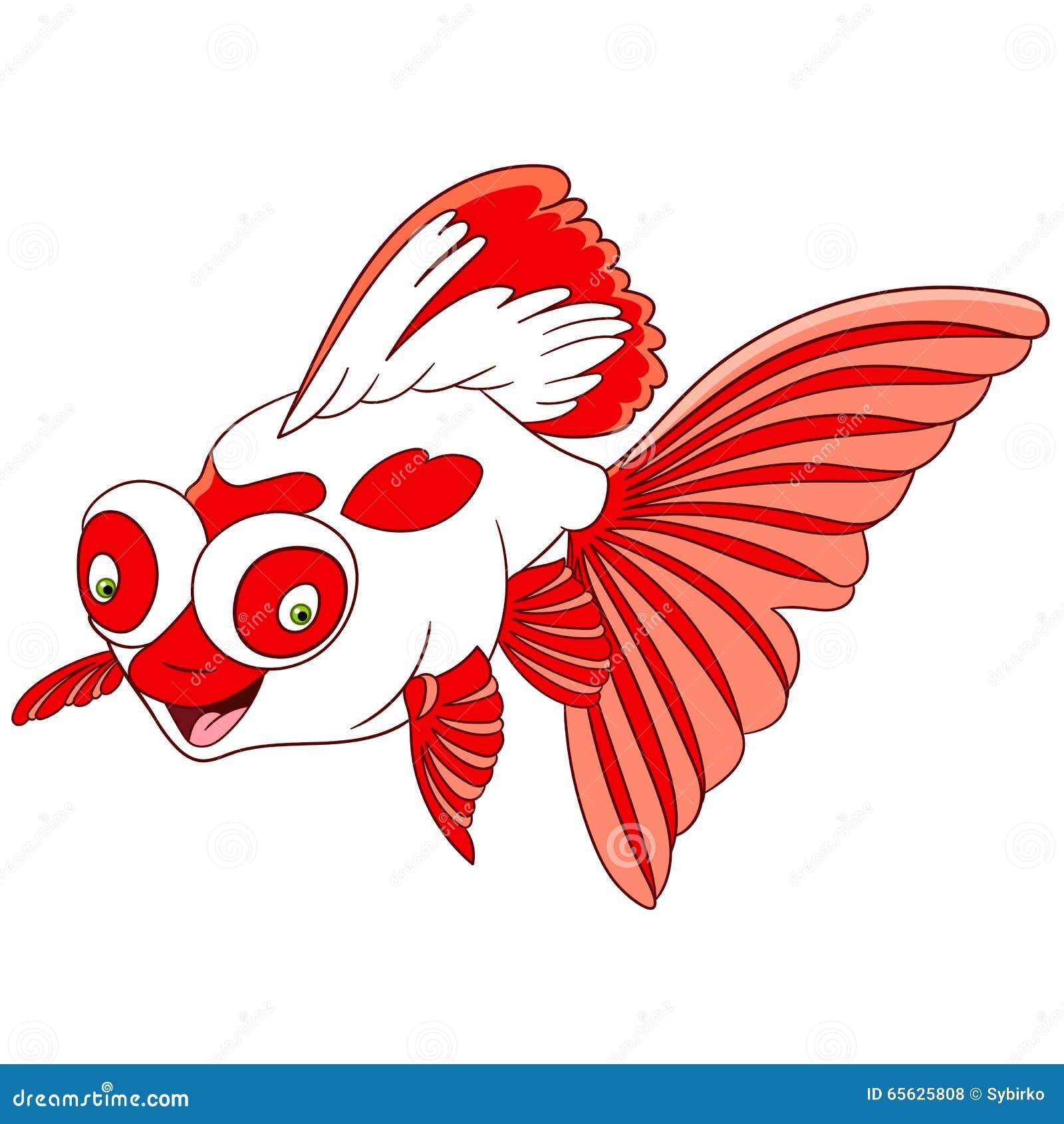 Poisson rouge mignon de télescope de bande dessinée