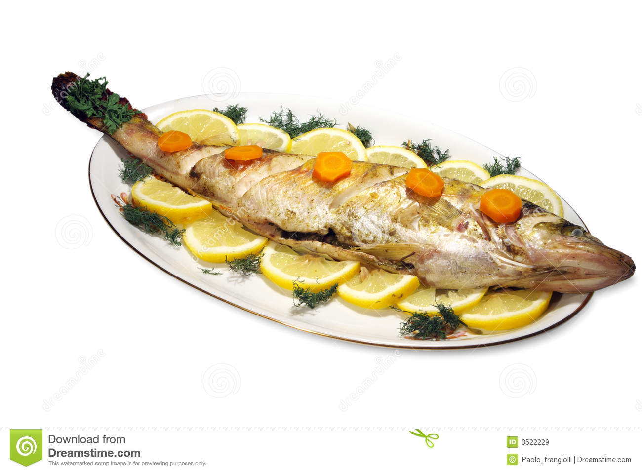 Poissons cuits au four image stock image du manger for Nourriture du poisson