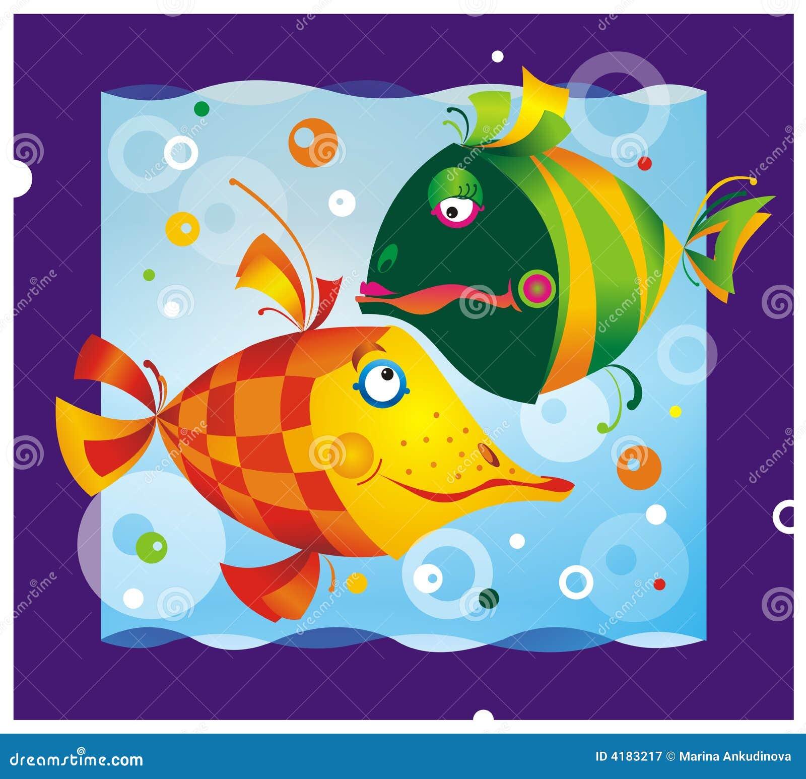 Poissons de dessin anim de couleur photographie stock for Achat poisson etang