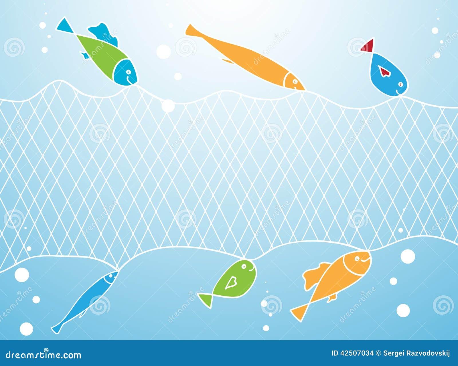 Poissons et filet de pêche