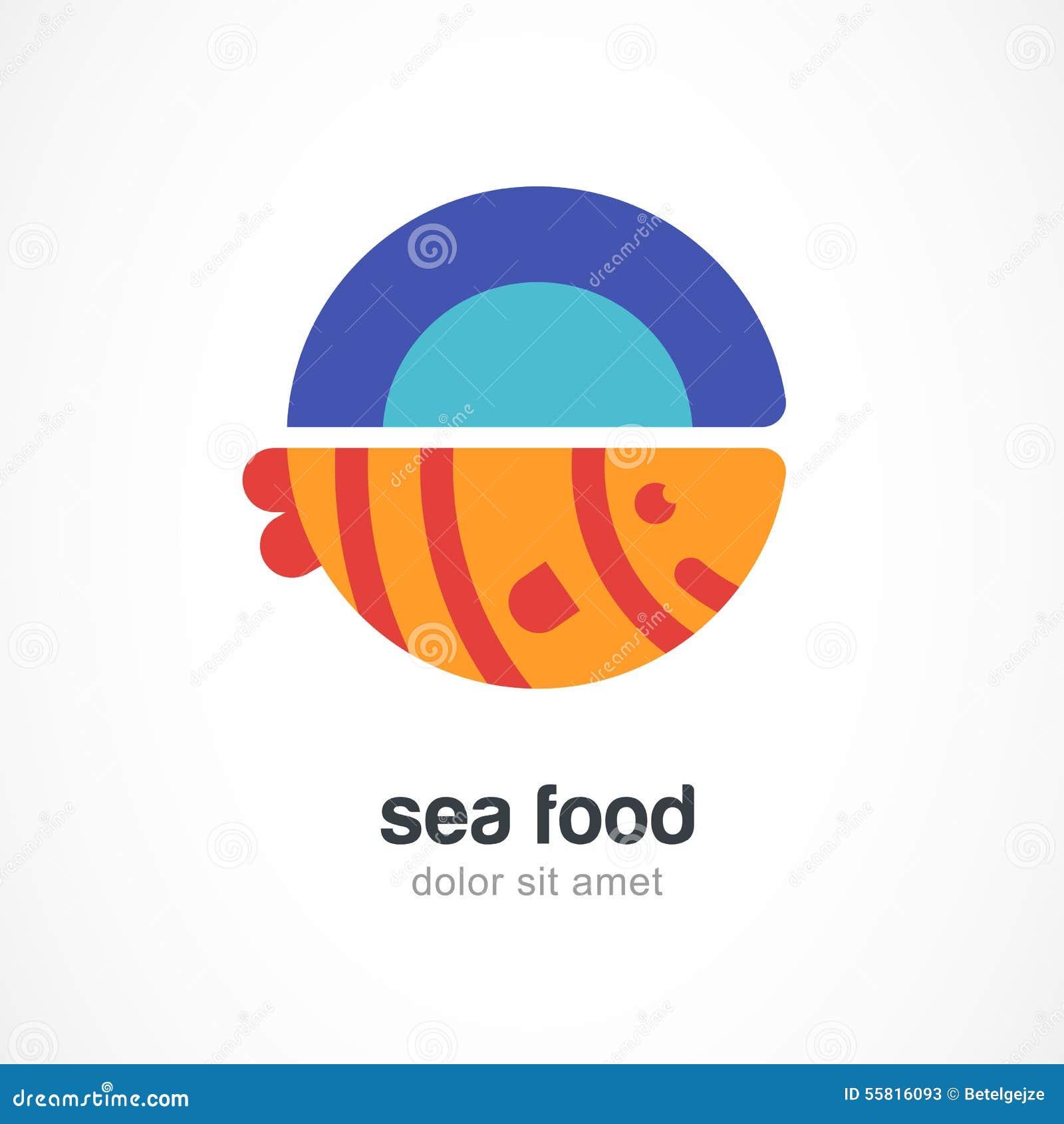 Poissons grillés de plat, illustration plate Tem de conception de logo de vecteur