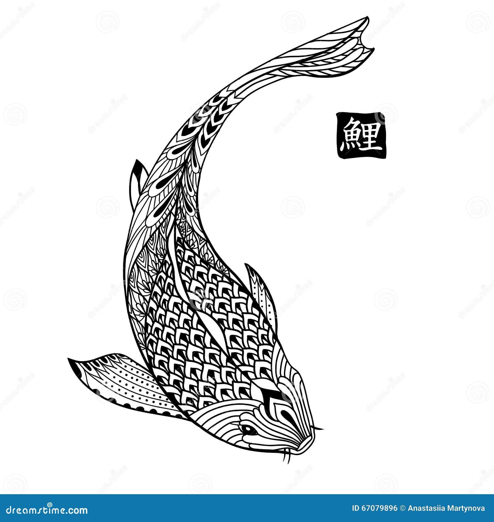 Poissons tir s par la main de koi dessin au trait japonais for Koi en japonais
