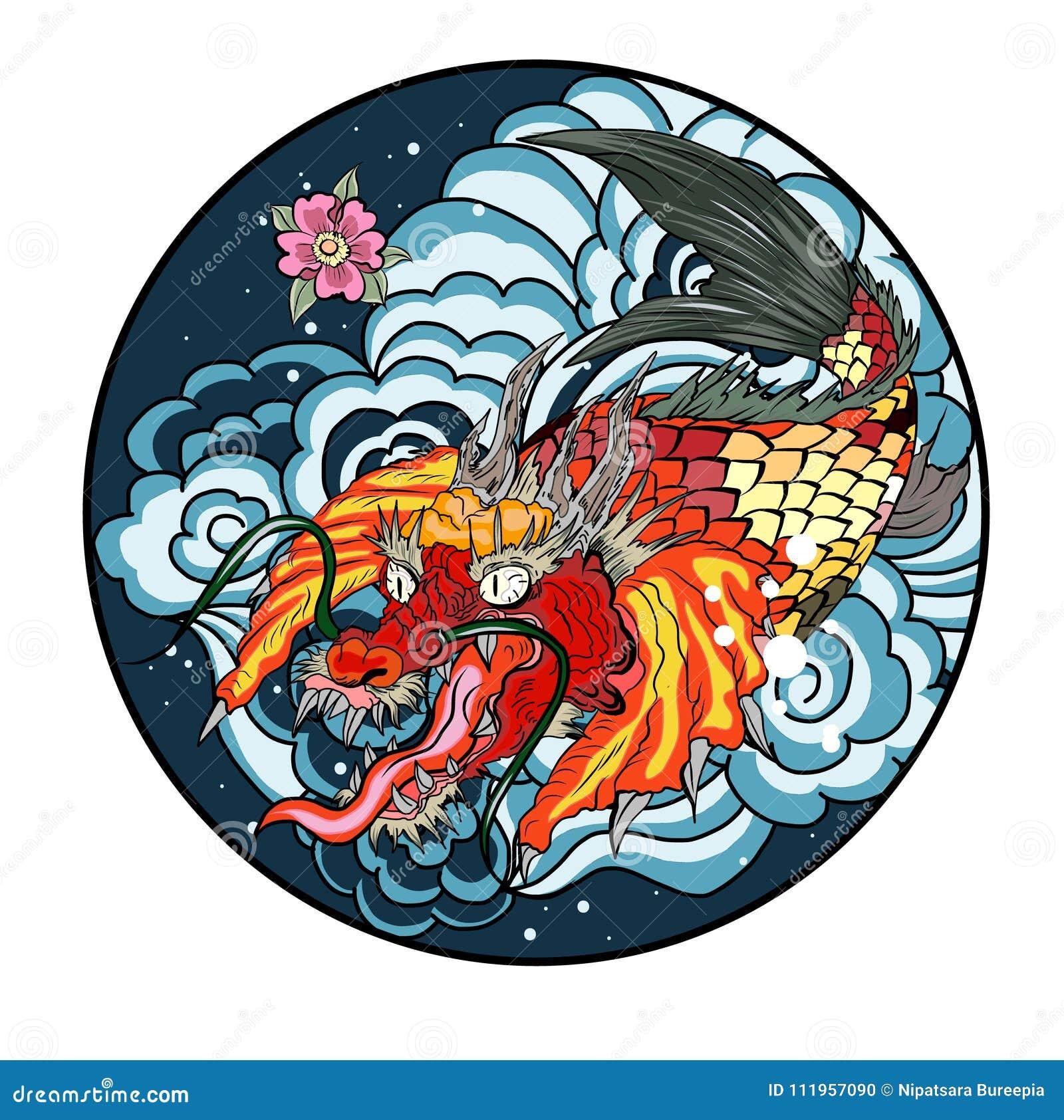 Dessin Japonais Carpe Koi poissons tirés par la main de koi en cercle, japonais image carpe de