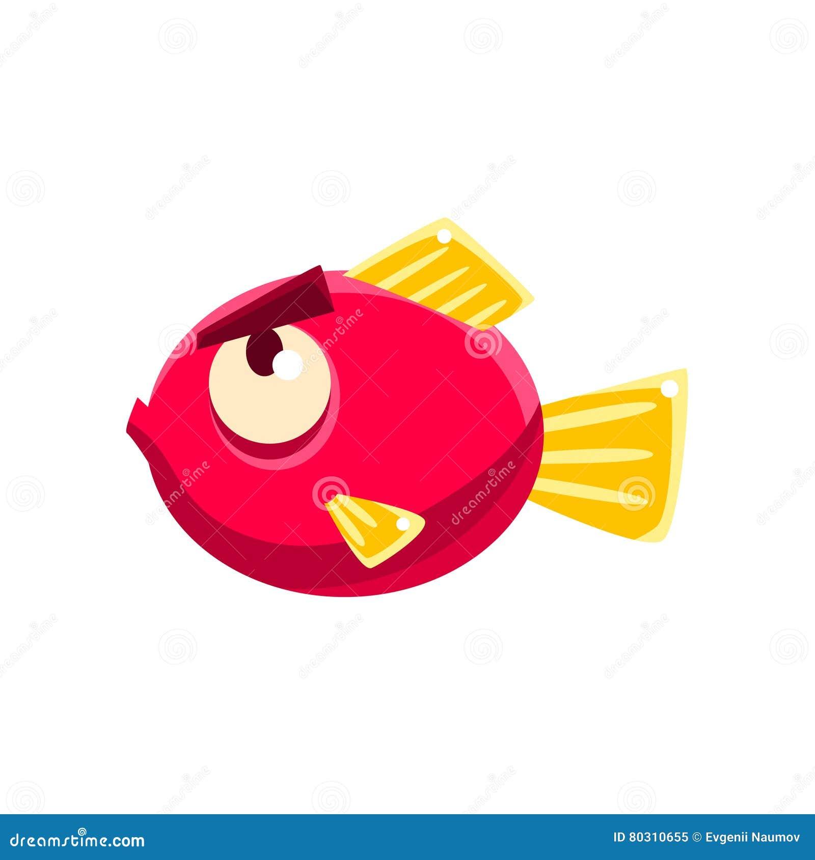 Poissons tropicaux d aquarium fantastique rouge têtu avec le personnage de dessin animé de sourcils