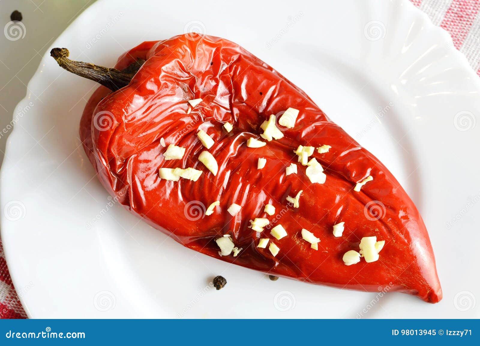 Poivron rouge rôti du plat