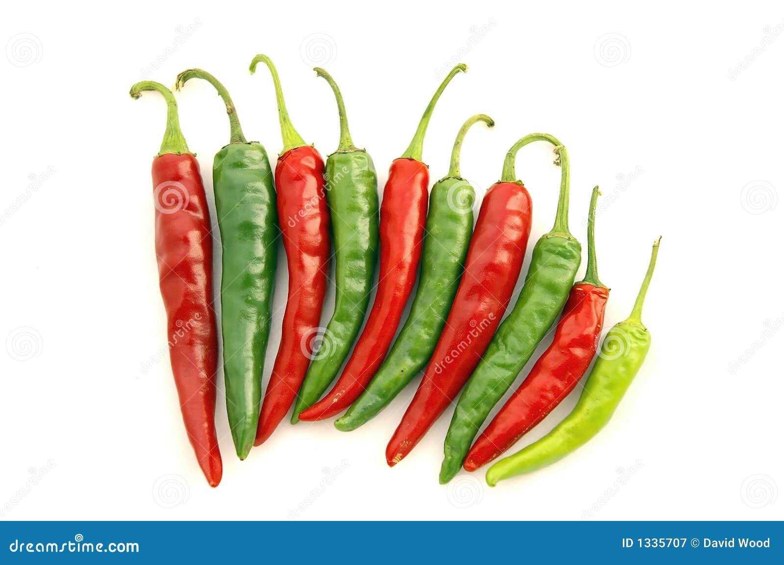 Poivrons de /poivron chaud rouges et verts