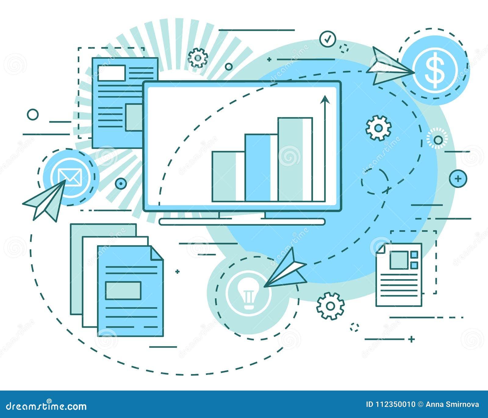 Pojęcie biznesowi pomysły, celne wzrostowe analityka, prezentacja Zysk analiza, ochrony, inwestycje liniowa sztuka