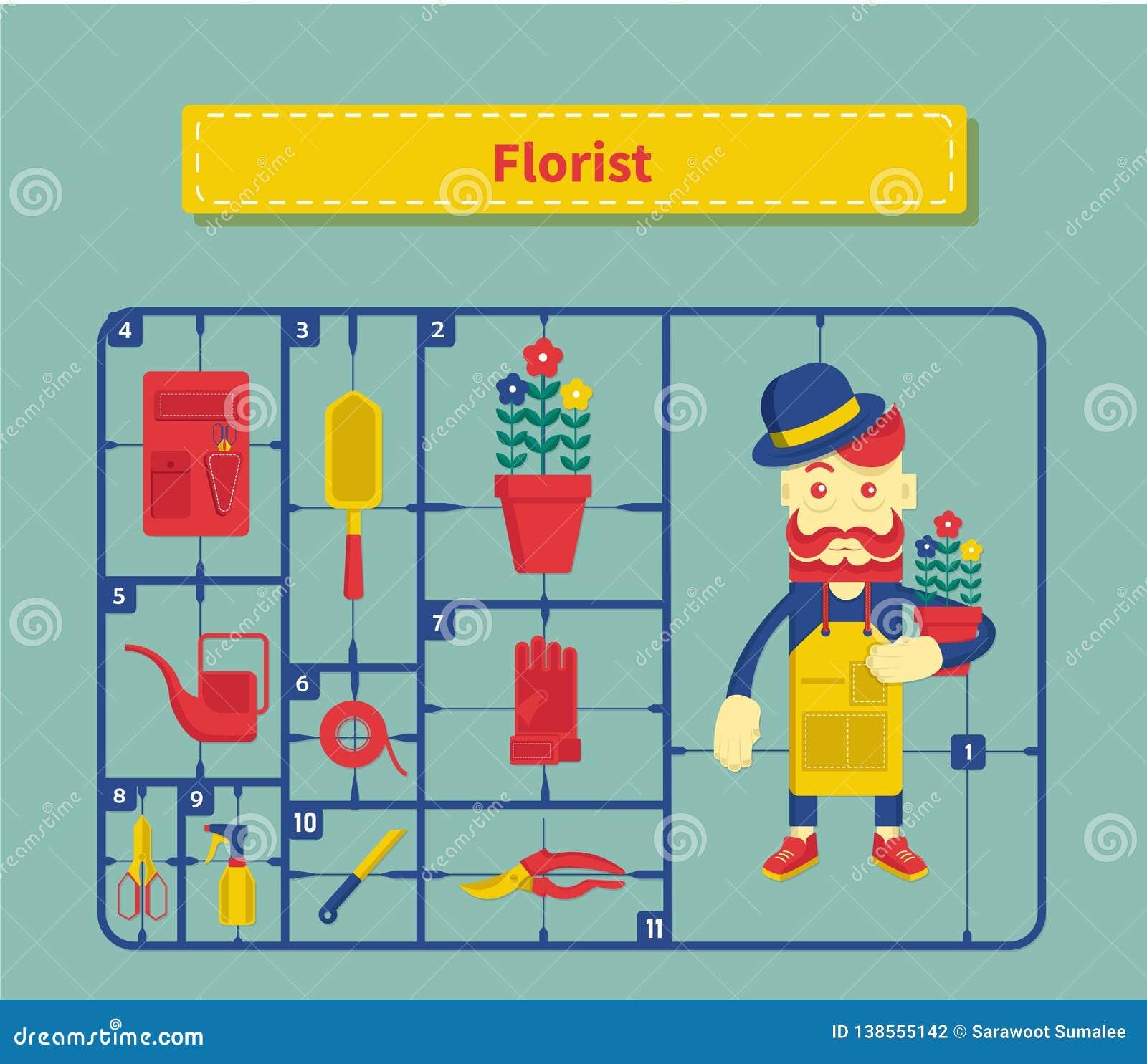 Pojęcie kreskówka rocznika styl charakter kwiaciarnia