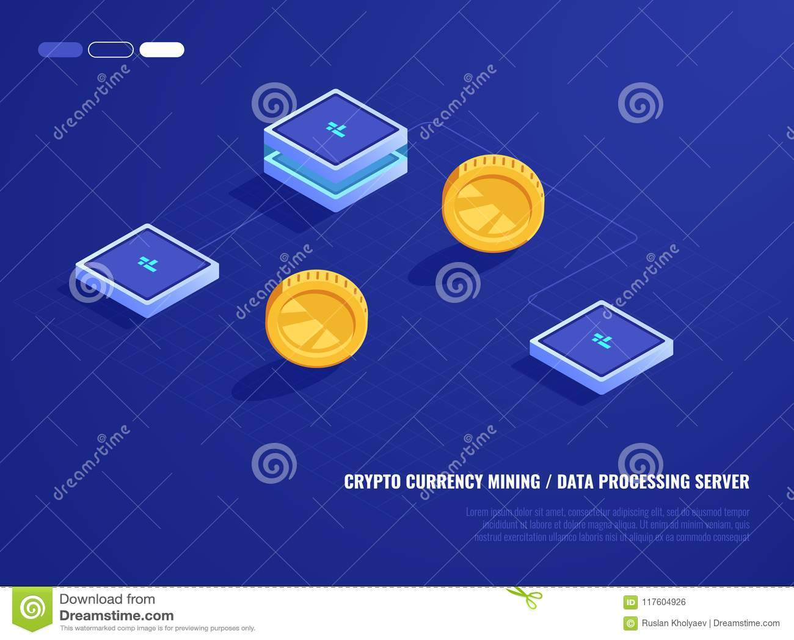 Pojęcie minować crypto walutę, narzędzia serweru pokój, moneta, komputerowa moc przetwarzania, baza danych isometric