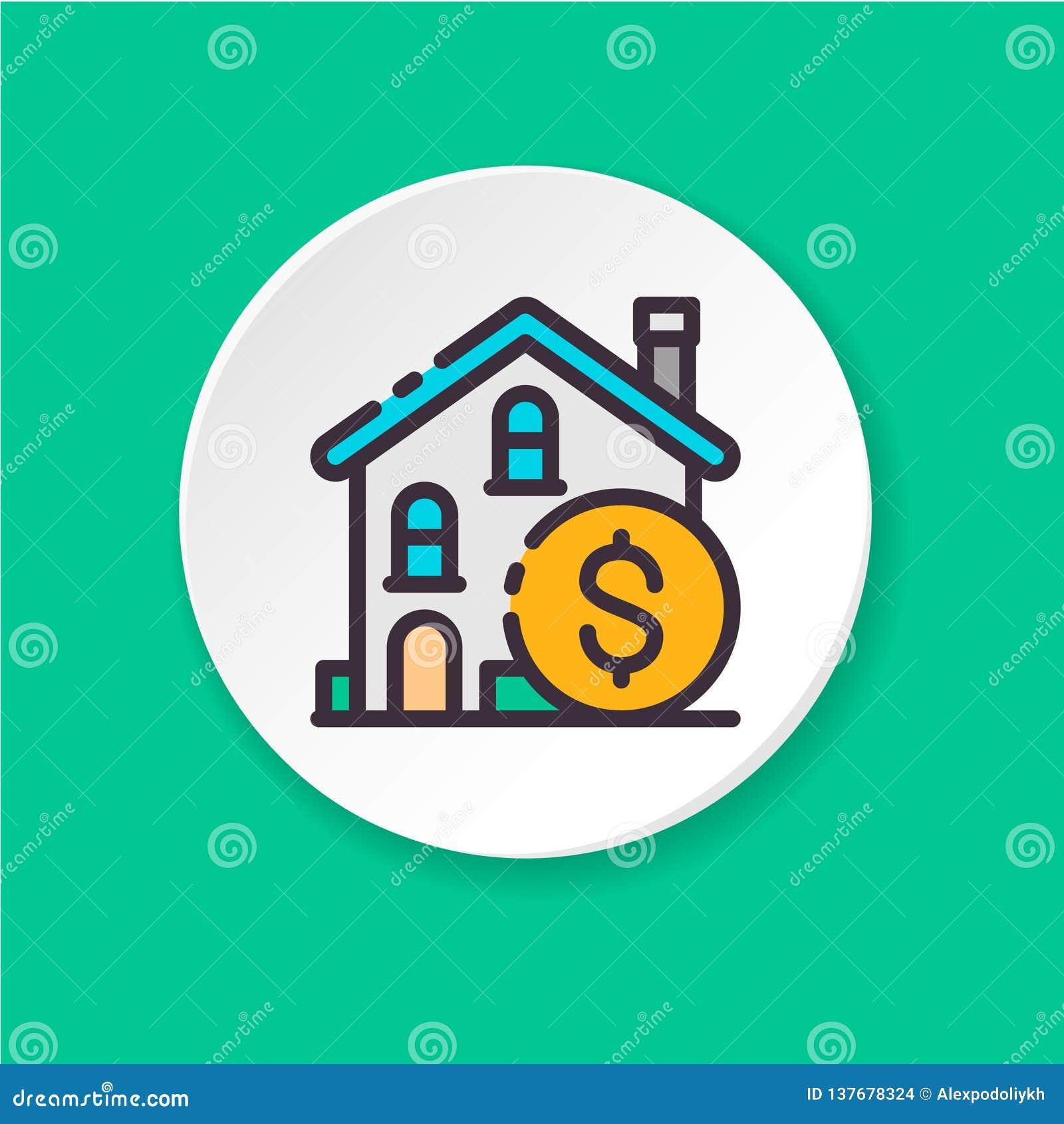 Pojęcie nieruchomości inwestycja Guzik dla sieci app lub wiszącej ozdoby