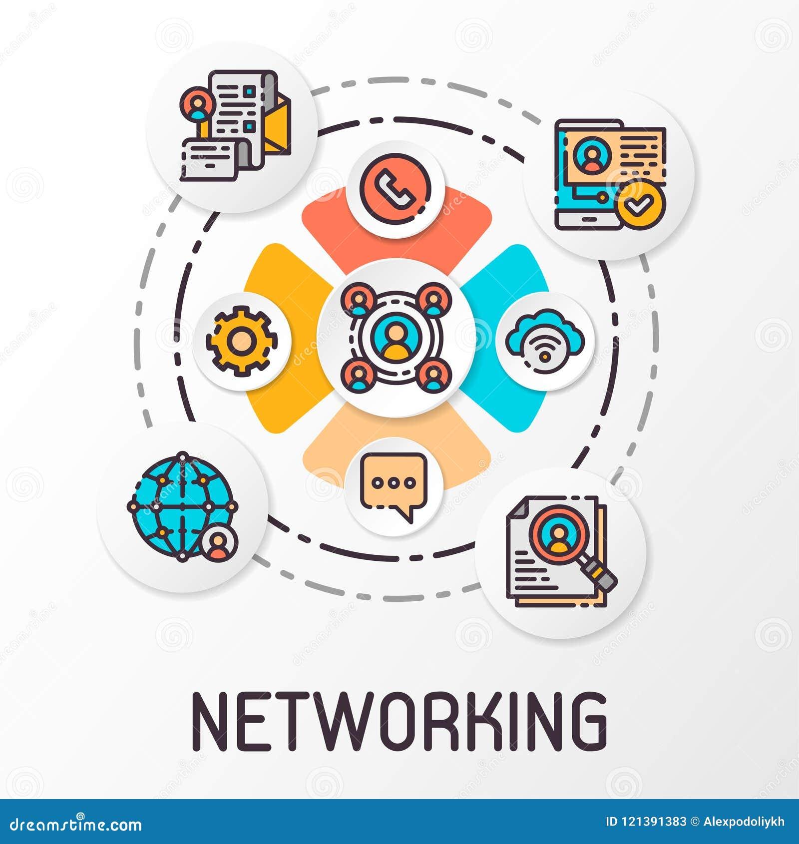 Pojęcie ogólnospołeczna sieć która zawiera komunikacyjne ikony również zwrócić corel ilustracji wektora