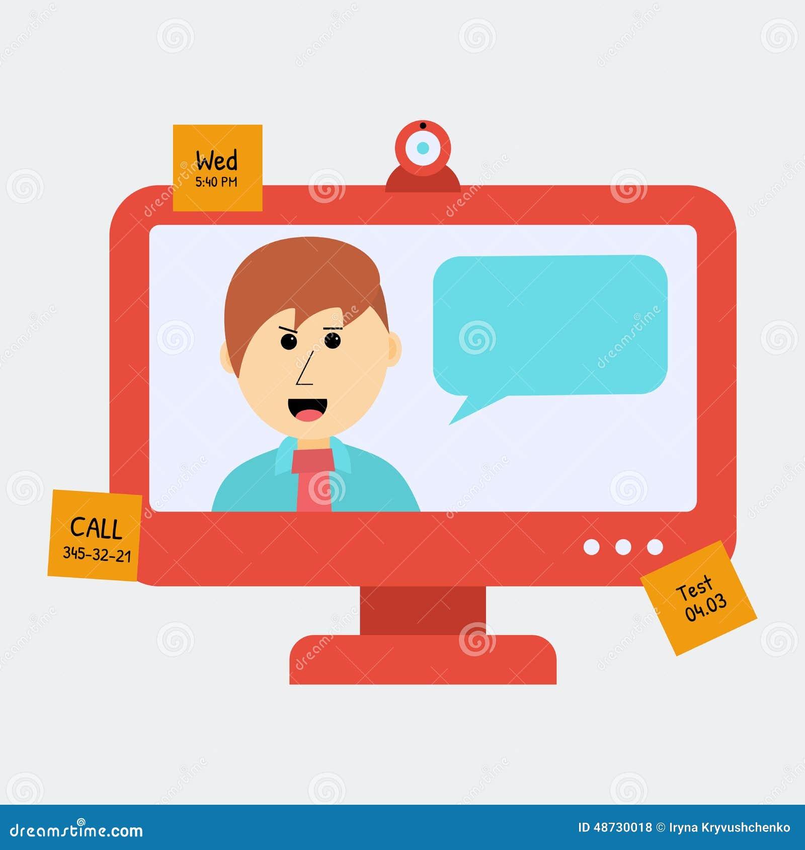 Pojęcie Onlune edukacja Mężczyzna Opowiada Coś przez monitoru