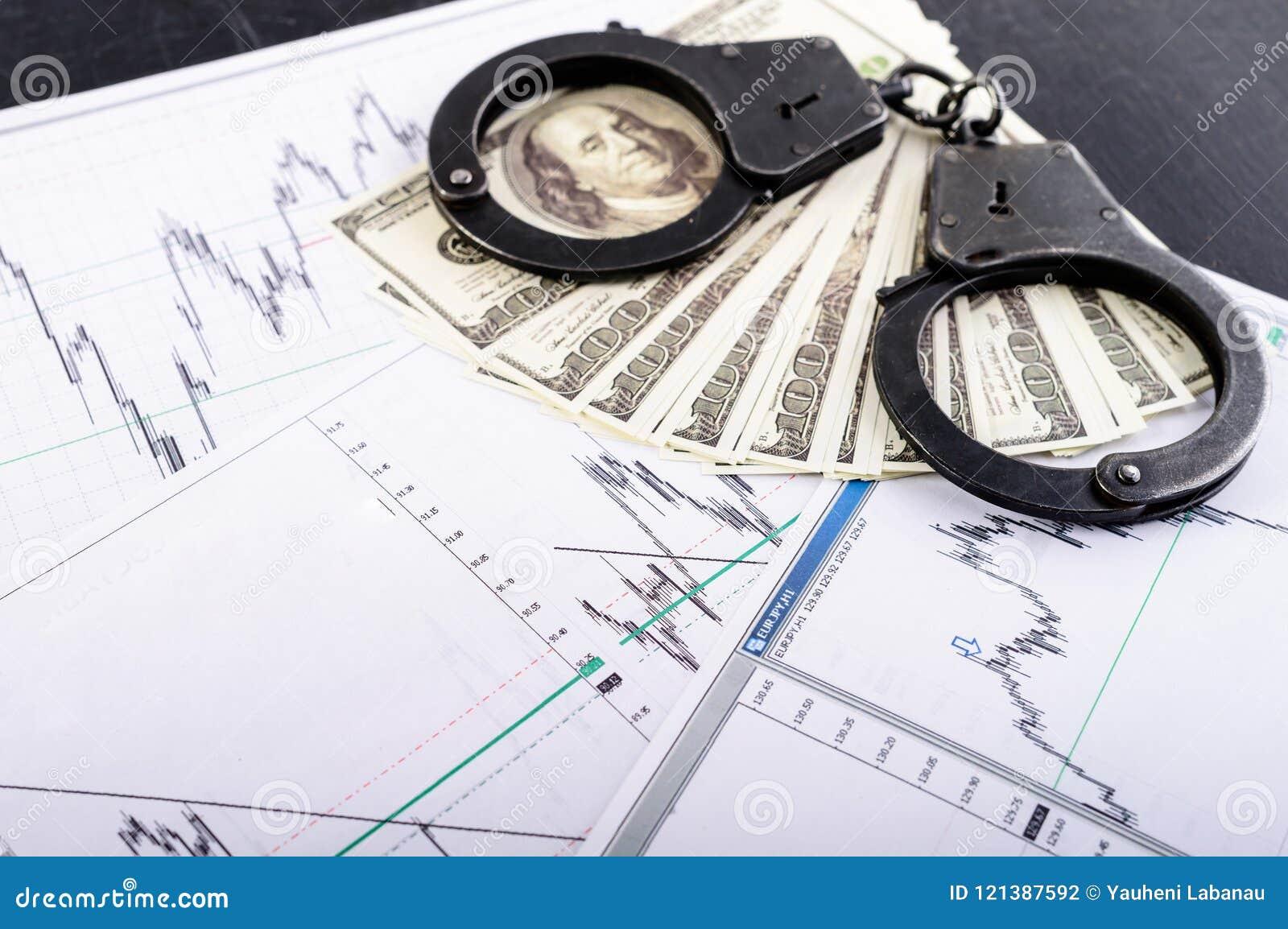Pojęcie przestępstwo, łapówka, zatrzymanie Kajdanki, sto dolla