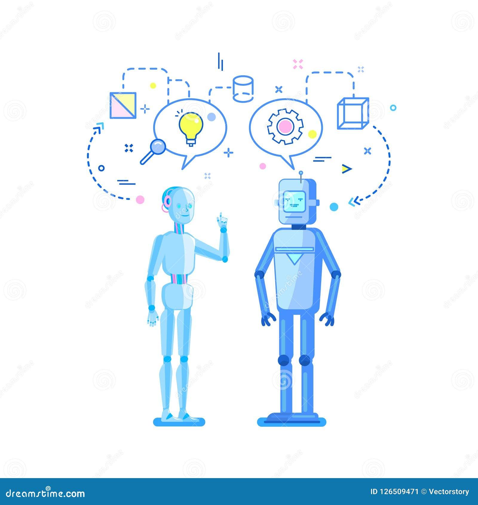 Pojęcie sztuczna inteligencja Dwa robota opowiadają, dyskusja i wymiana pomysły