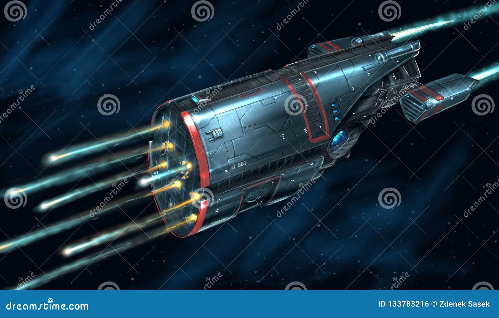Pojęcie sztuki obraz Atakować Astronautycznego statek w bitwie