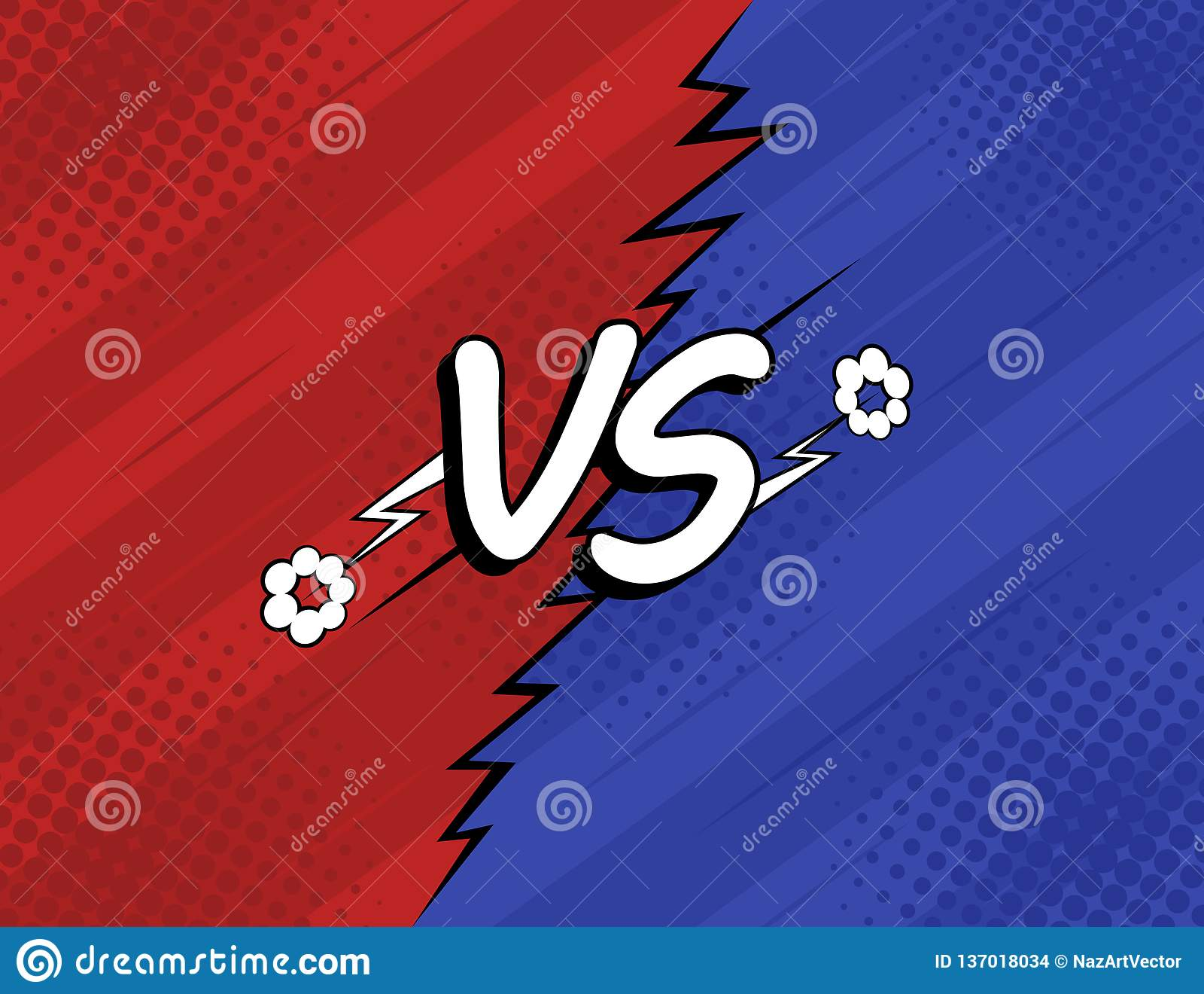 Pojęcie VS versus Walka, czerwień i błękitny retro tło komiczek stylu projekt z halftone, błyskawica