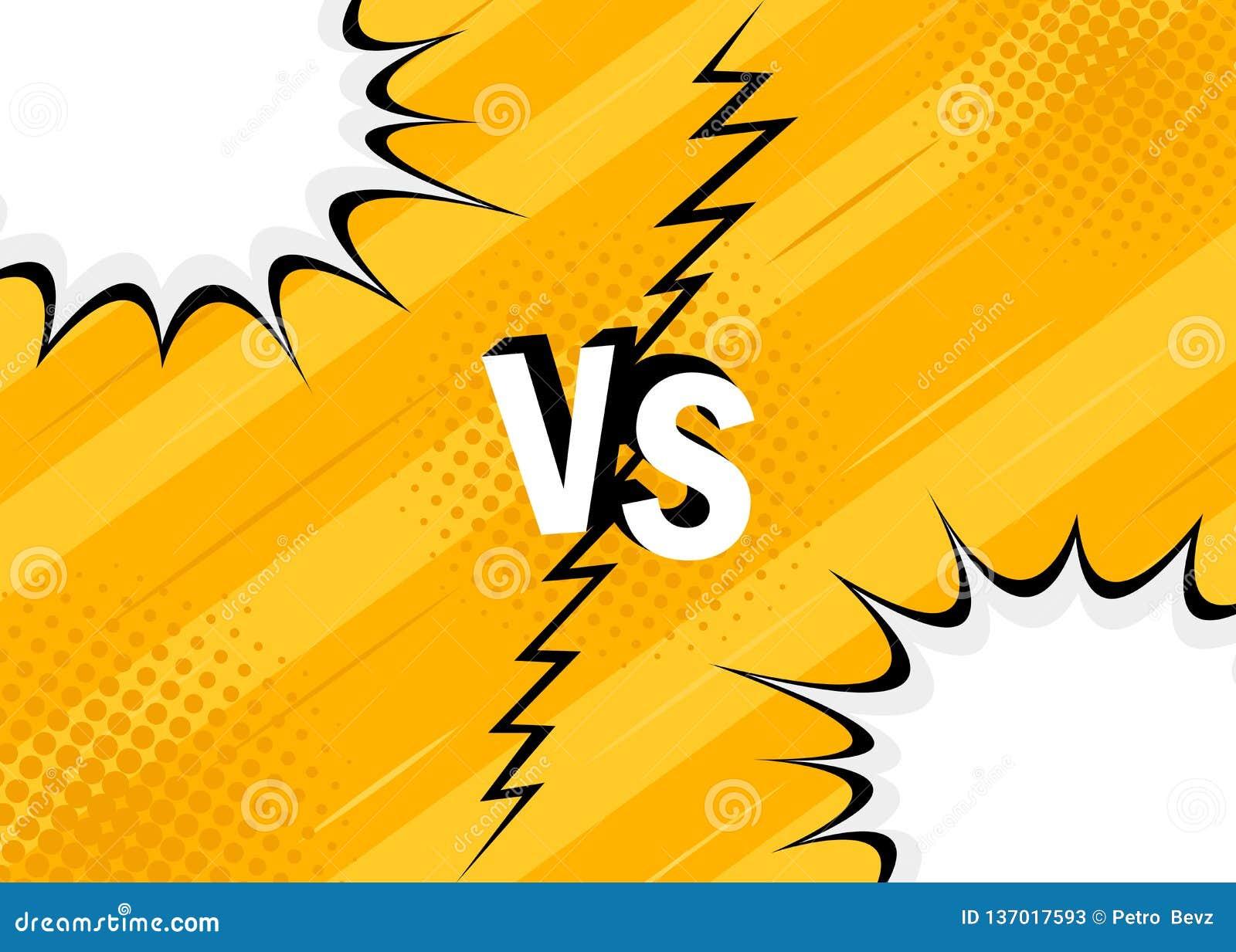 Pojęcie VS versus wojownik Żółty retro tło komiczek stylu projekt z halftone, błyskawica