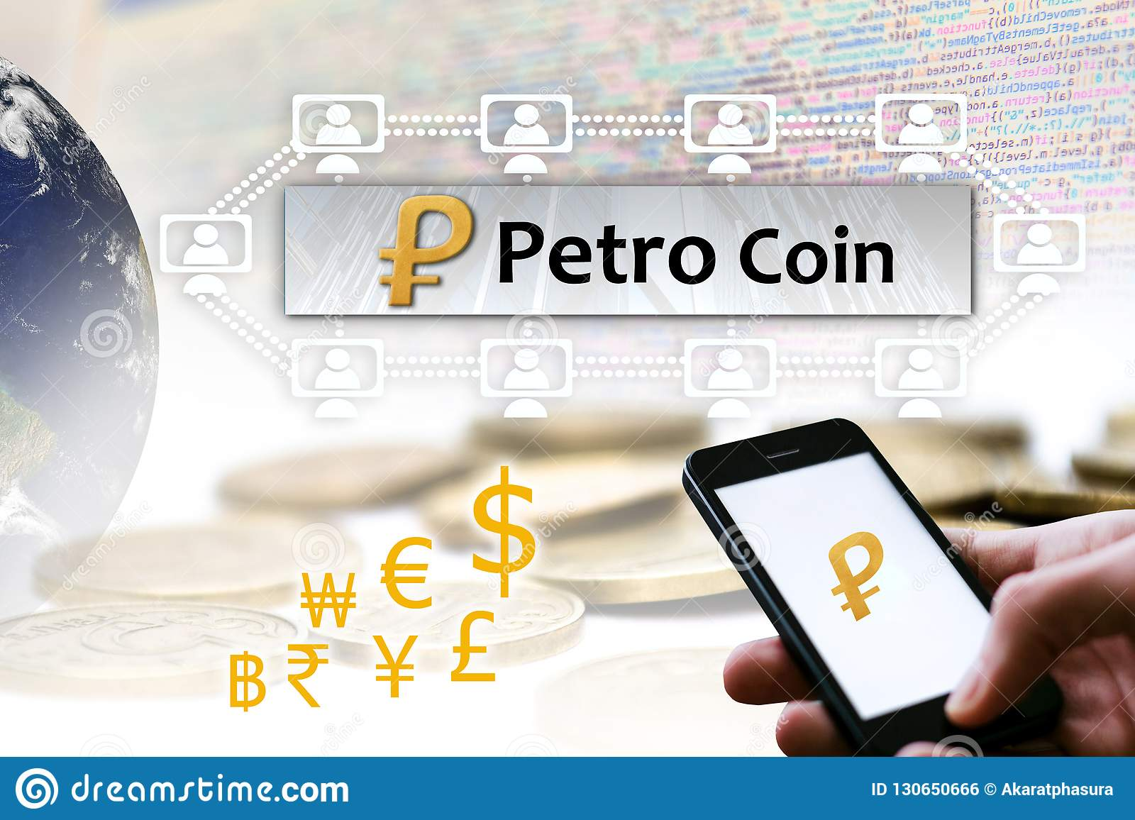 Pojęcie Wenezuela Petro moneta, Cryptocurrency blockchain platforma,