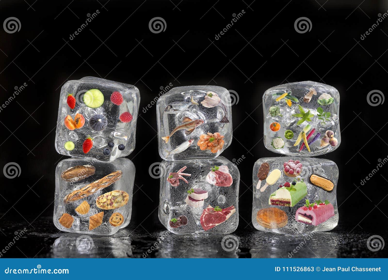 Pojęcie zamarznięci produkty: owoc, warzywa, fishs, mięso, pikantność ziele, ciasto, marznęli wśrodku kostek lodu na czerni
