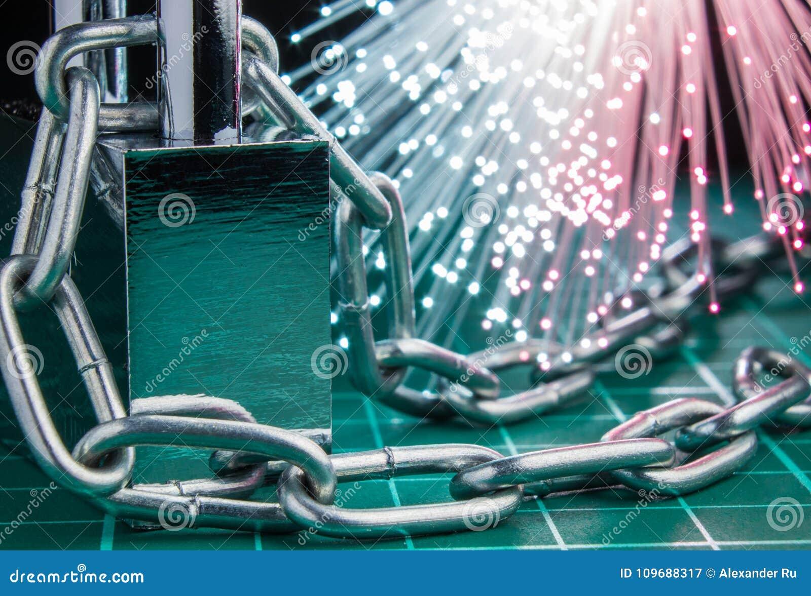 Pojęcie zamknięcie, ochrona Technologii blockchain, utajnianie ruch w internecie Hasło ochrona