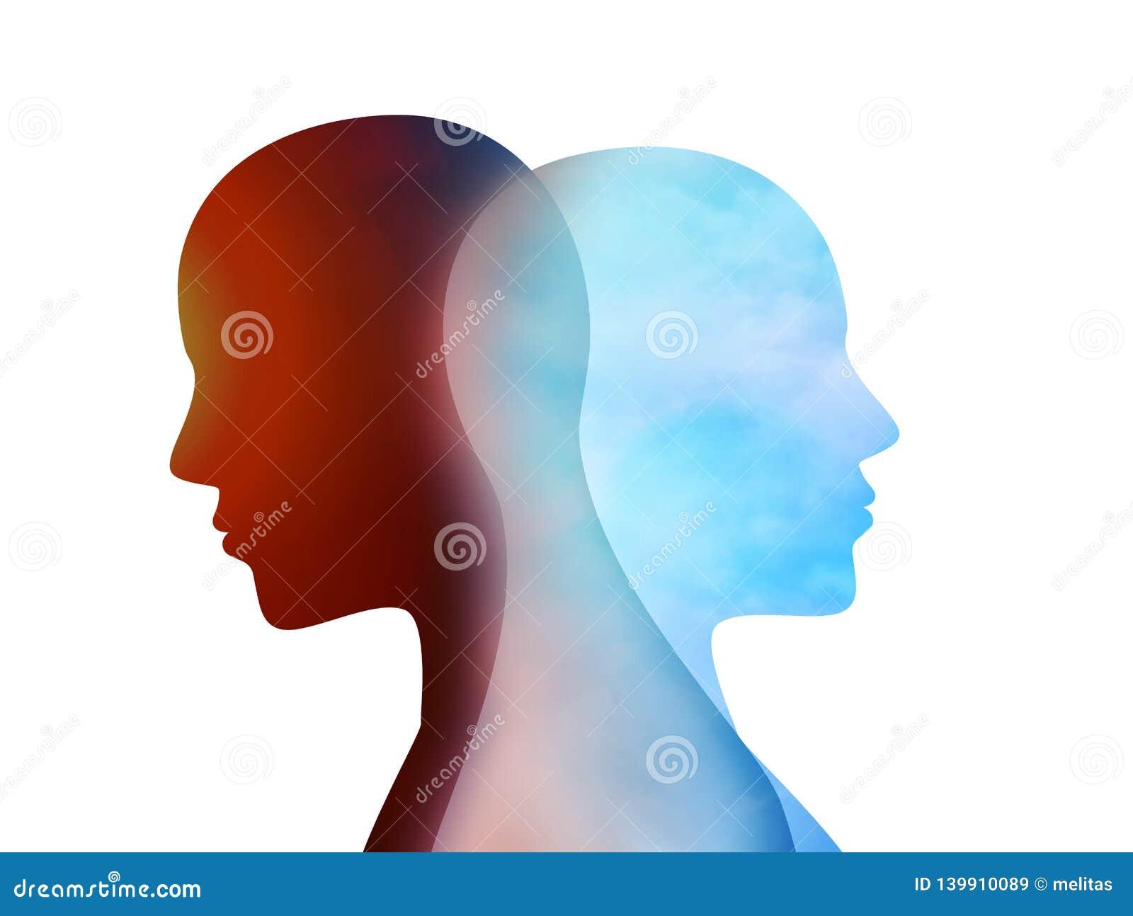 Pojęcie zmiana nastrój emocje Dwubiegunowego nieładu umysł umysłowy Rozszczepiona osobowość twarzy podwójna dziewczyna ja osobowo