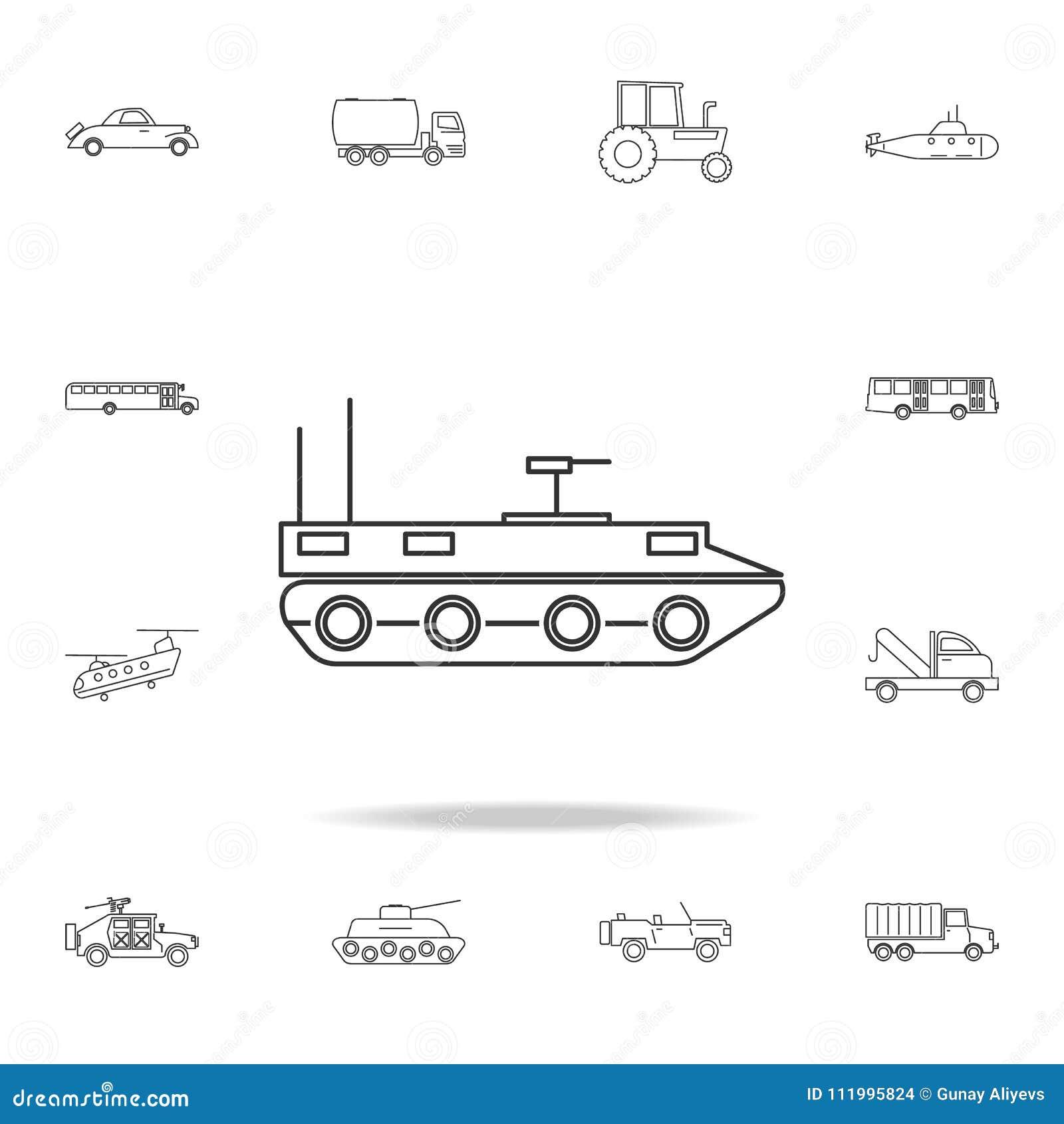 Pojazd pancerny ikona Szczegółowy set przewiezione kontur ikony Premii ilości graficznego projekta ikona Jeden inkasowe ikony fo