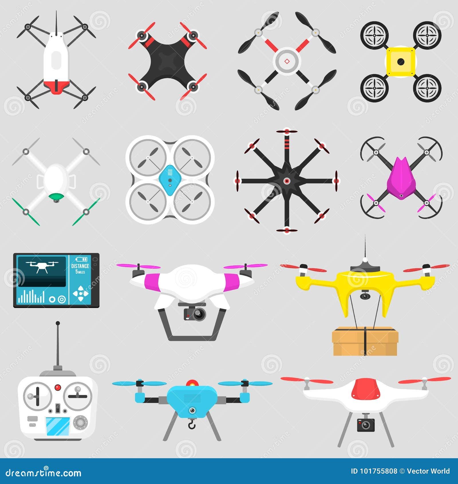 Pojazdu trutnia quadcopter Wektorowej ilustraci pilot do tv komarnicy lotnicza unosi się narzędziowa kamera