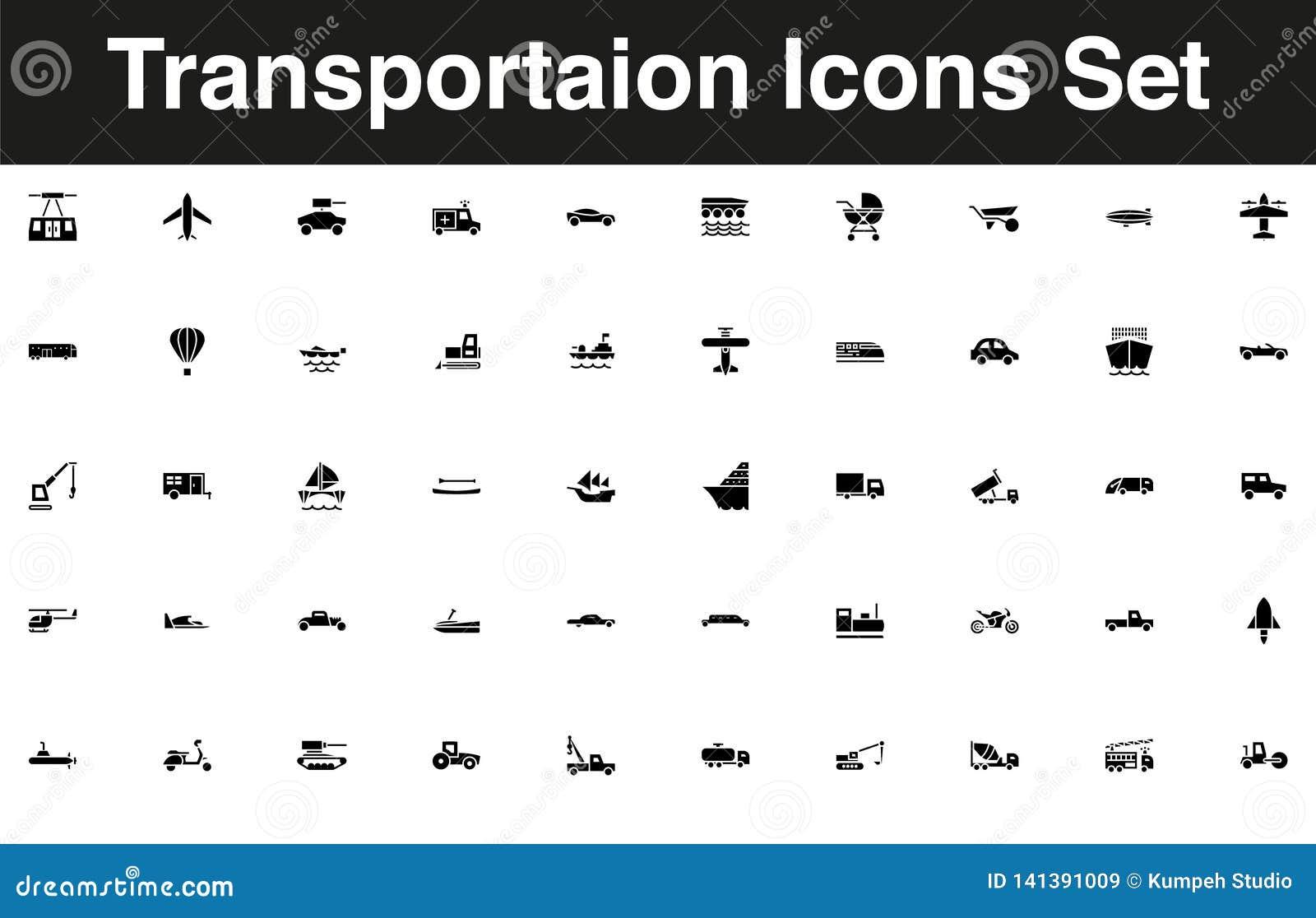 Pojazdy i transport ikony ustalony stały czerń