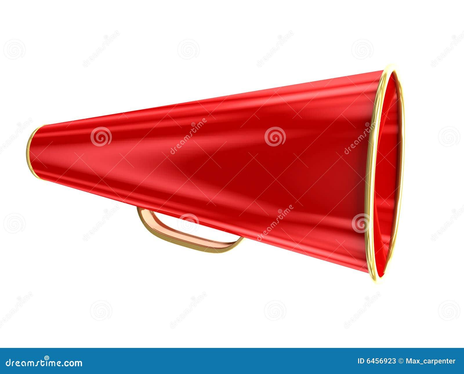 Pojedynczy megafon na czerwonym white