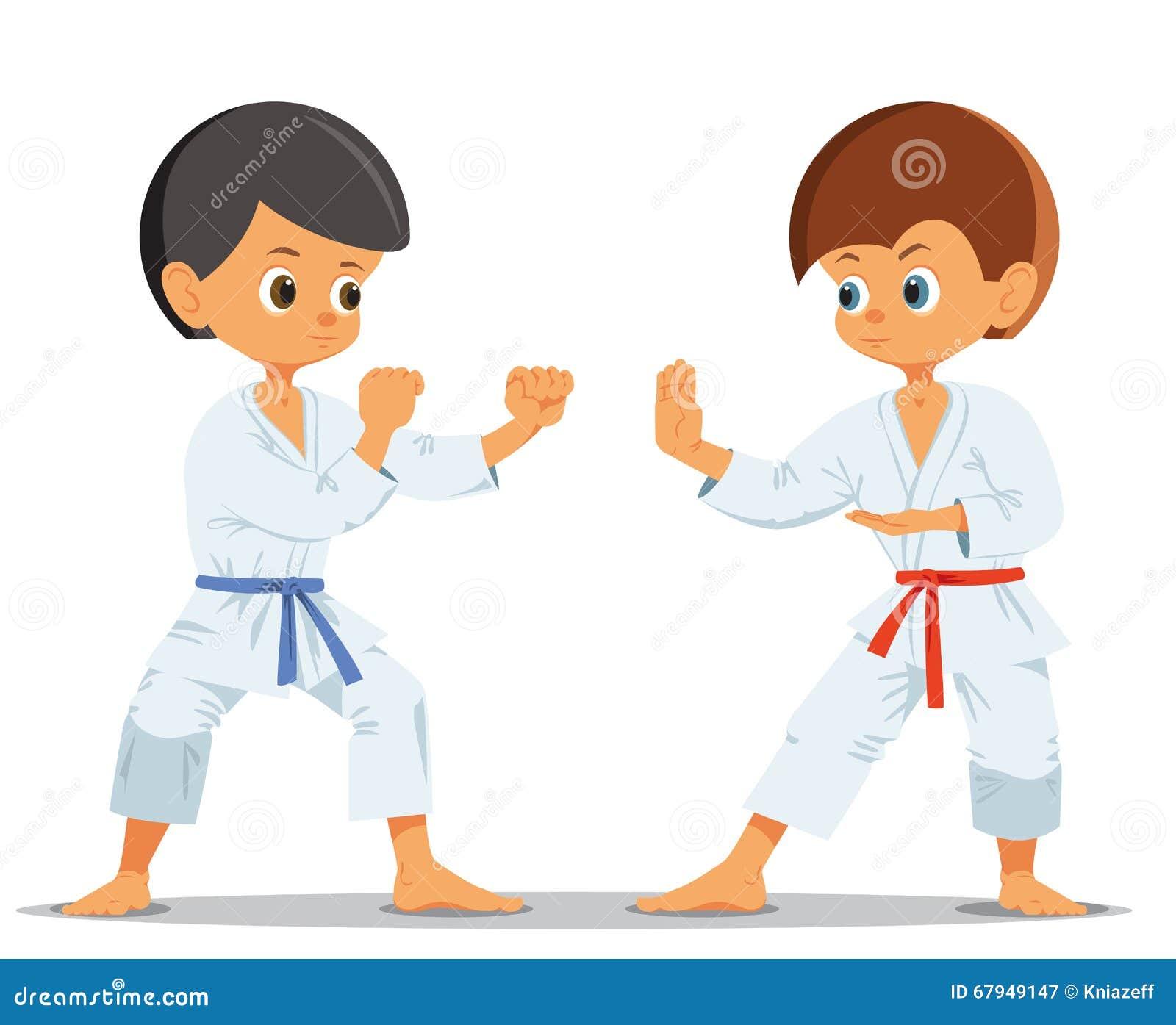 Pojkar som konkurrerar i karate