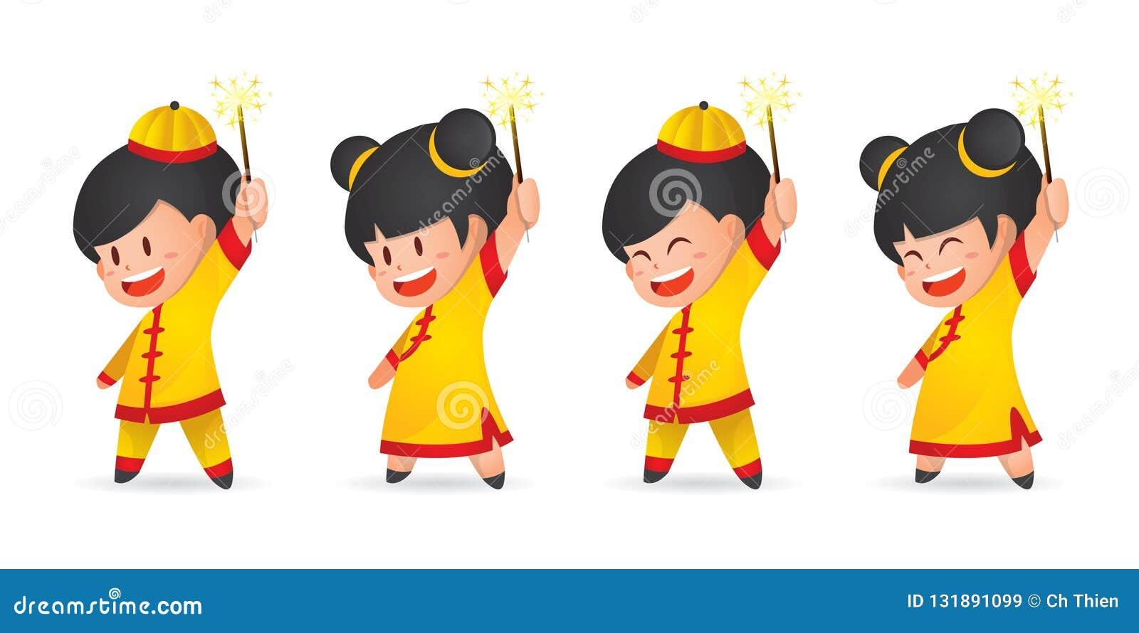 Pojke och flicka för nytt år för gullig tecknad film som kinesisk har gyckel med tomtebloss som isoleras på vit
