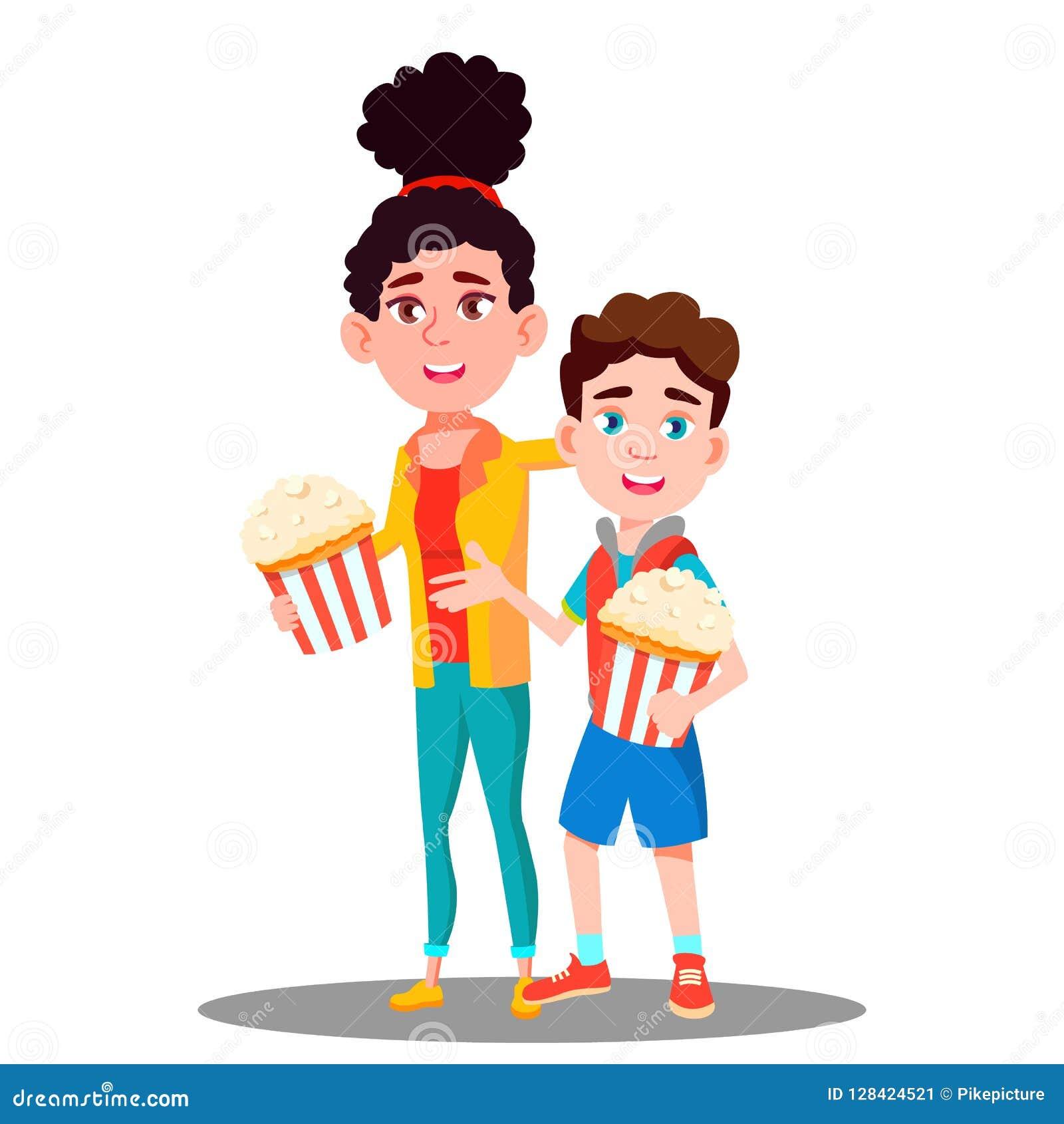 Pojke och flicka med popcorn i handvektor isolerad knapphandillustration skjuta s-startkvinnan