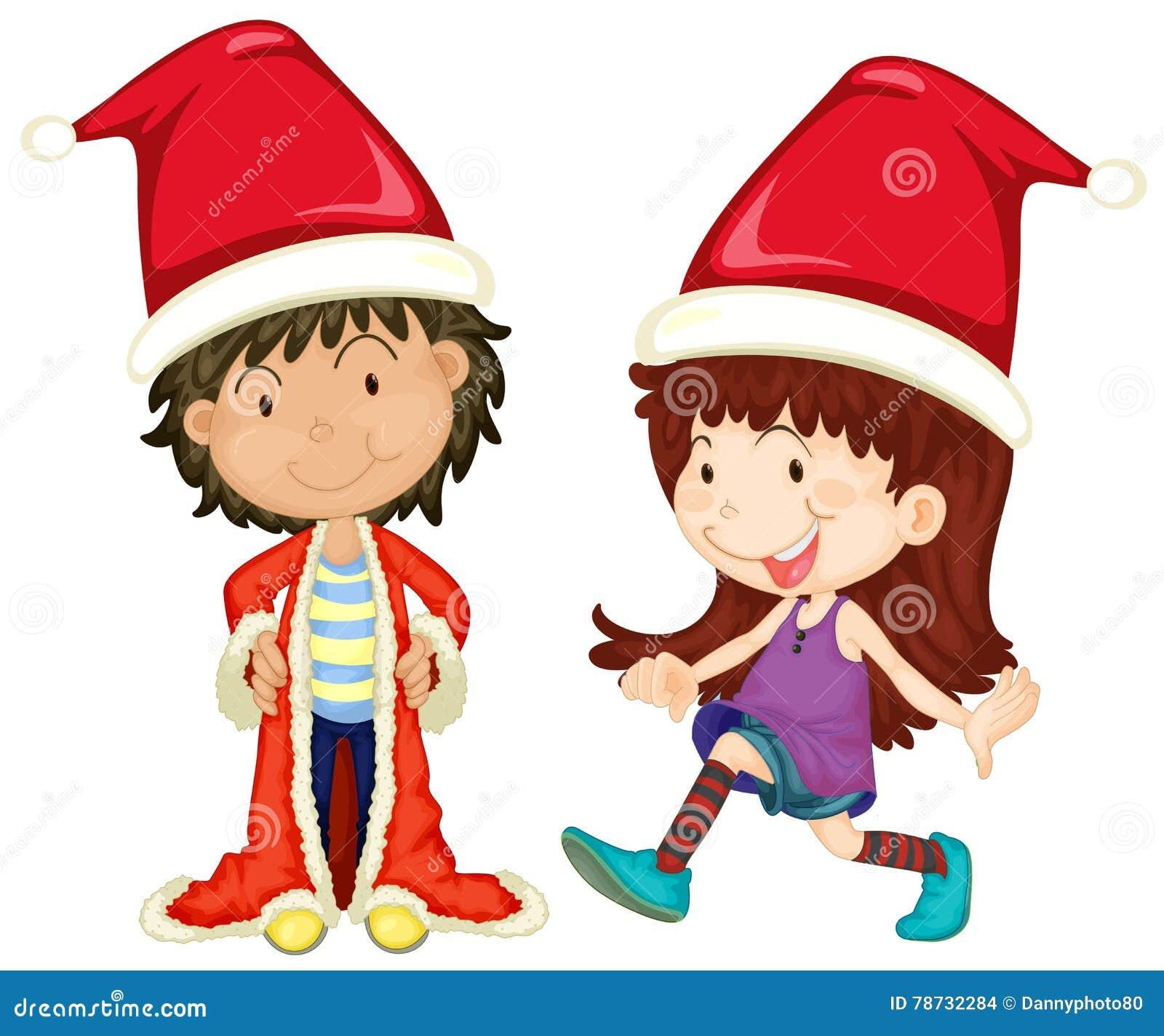 Pojke och flicka som bär den santa dräkten