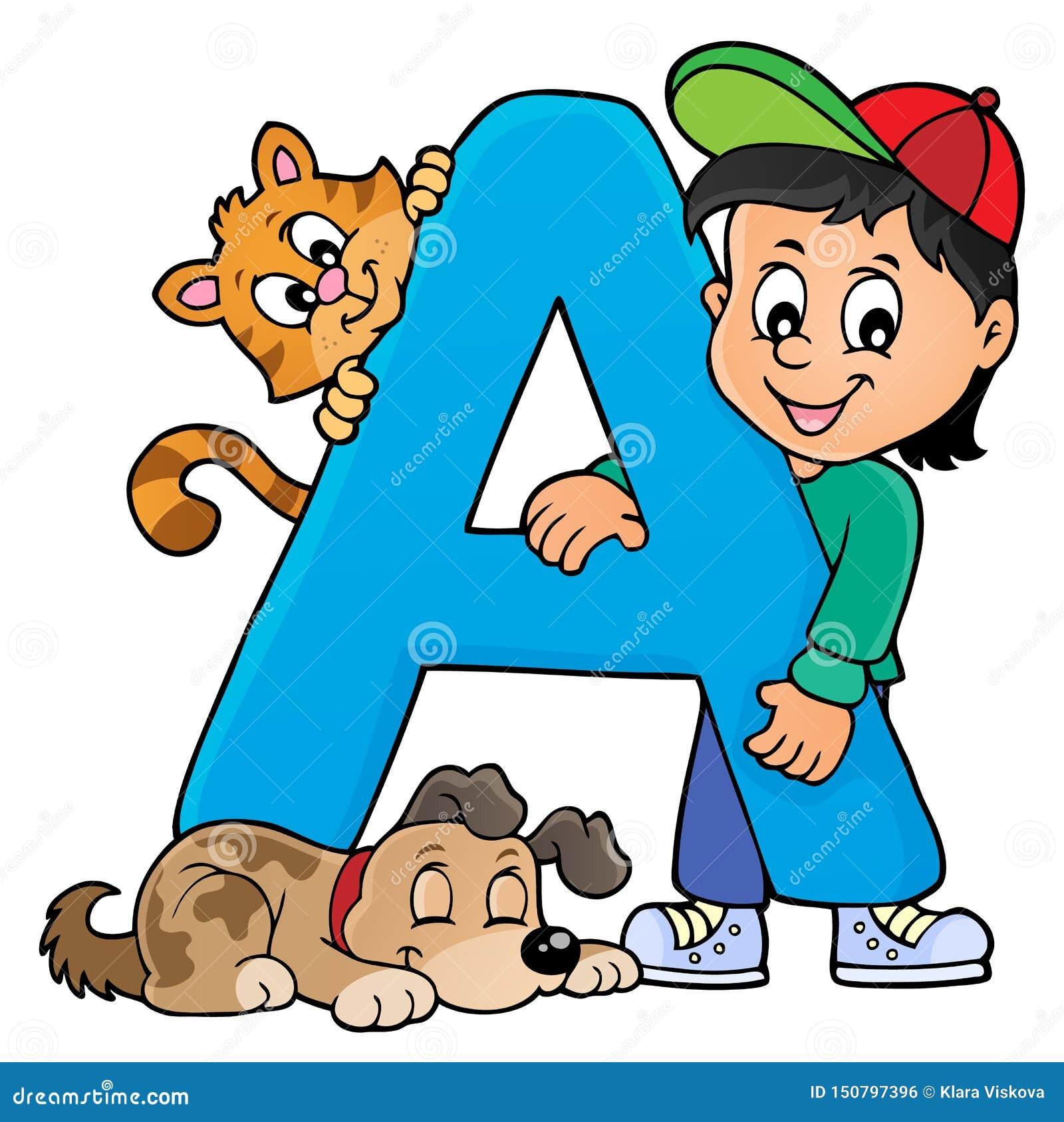 Pojke och husdjur med bokstav A
