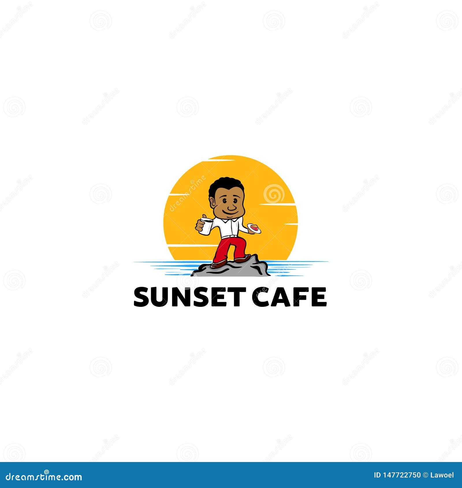 Pojke som äter kakan och kaffe på strandvektorillustrationen